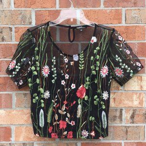 Cleo Embroidered Crop Top Black Net Size Large